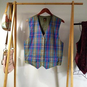 Cotton Plaid Career School Vest L